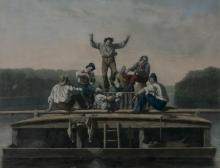 AFTER GEORGE CALEB BINGHAM. (American, 1811-1879). The Jolly Flat Boat Men, Mezzotint by Thomas Doney. Published by the American Art Un