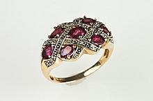 14K YELLOW GOLD, RUBY AND DIAMOND RING. - Size 9.