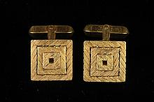 PAIR 14K TEXTURED YELLOW GOLD, SQUARE-ON-SQUARE DESIGN CUFFLINKS WITH OPEN CENTERS, - Wt. app. 9.75 d.w.t.