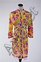 VINTAGE EMILIO PUCCI FOR FORMIT ROGERS YELLOW RED MULTI DRESS, 1970s; size small; signed within fabric.