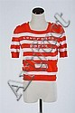 COURRÈGES ORANGE AND WHITE STRIPE TOP, 1960s; size A/small.