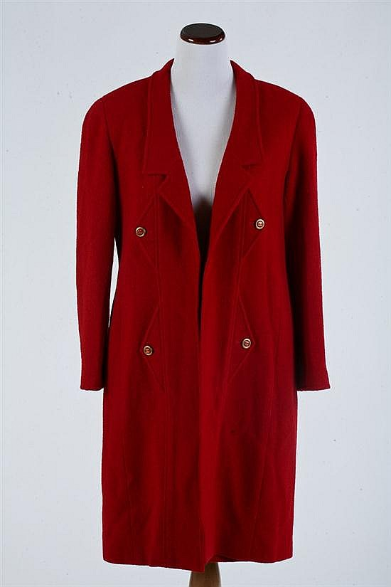 CHANEL BOUTIQUE RED WOOL SKIRT SUIT, Automne 1994; Size 14. - New with tags.