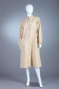 GIVENCHY NOUVELLE BOUTIQUE BEIGE WOOL SHIRTDRESS. late 1960s.