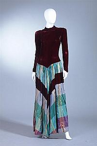 BURGUNDY VELVET AND IRIDESCENT TAFFETA DRESS, 1940s;
