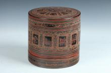 BURMESE POLYCHROME LACQUER BETEL BOX AND COVER, - 8 in. high.