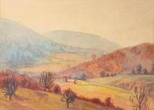 LAWRENCE MALCOLM STEVENS (American, 1916-1998). ROANOKE VALLEY IN VIRGINIA and UNIVERSITY OF VIRGINIA: TWO WORKS, watercolor, circa 193
