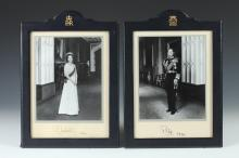 TWO LEATHER FRAMED, DATED AND SIGNED PHOTOGRAPHS OF QUEEN ELIZABETH II AND PRINCE PHILIP OF ENGLAND, Circa 1978. - Frames: 14 1/4