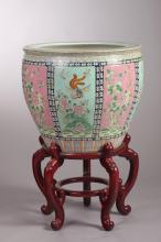 CHINESE FAMILLE ROSE PORCELAIN FISH BOWL. - 21 in. diam (without stand).