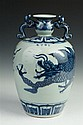 CHINESE BLUE AND CELADON PORCELAIN DRAGON JAR, - 13 1/2 in. high.