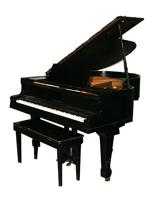 Yamaha black lacquered baby grand piano with bench 20th cen for Yamaha black baby grand piano