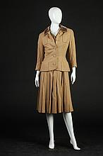 CHRISTIAN DIOR CAMEL-COLORED WOOL DRESS AND JACKET. 1950s-1960s; Christian Dior Paris black label.