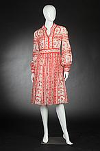 MISS BERGDORF RED AND WHITE FLORAL COTTON PRINT DRESS, Early 1960s.