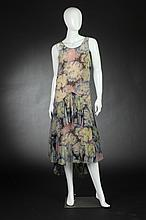 FLORAL SILK CHIFFON GARDEN DRESS, 1920s.