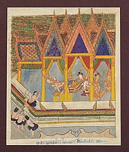 THAI SCHOOL (Thai, 19th Century). LIFE OF BUDDHA, Ink and color on textile, framed.