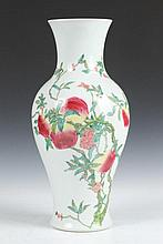 CHINESE FAMILLE ROSE PORCELAIN VASE, Kangxi six-character underglazed blue mark, late 19th/early 20th Century. - -.17 in. high.