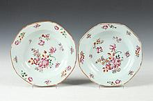 TWO CHINESE FAMILLE ROSE PORCELAIN SOUP PLATES, Qianlong Period. - 9 in. diam.