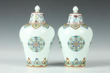 PAIR CHINESE FAMILLE VERTE PORCELAIN VASES AND COVERS, Qianlong underglaze blue seal mark. - 6 1/2 in. high.