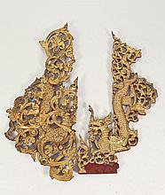 PAIR BURMESE GILT WOOD DRAGON AND PHOENIX RETICULATED PANELS. - Longer: 44 1/2 in. long.