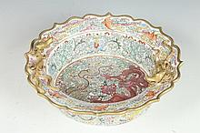 CHINESE FAMILLE ROSE PORCELAIN SCALLOPED DRAGON BOWL, Yongzheng four character overglazed mark, circa 1950. - 9 1/4 in. diam.