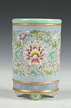 CHINESE FAMILLE ROSE PORCELAIN BRUSH HOLDER, Yongzheng overglazed blue mark, 20th Century. - 6 in. high.