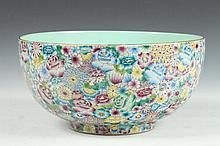 CHINESE FAMILLE ROSE PORCELAIN BOWL, Qianlong mark, 20th Century. - 12 1/8 in. diam.