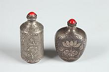 TWO CHINESE STERLING SILVER SNUFF BOTTLES, Wenyin, Li Chun mark. - Larger: 2 7/8 in. high.