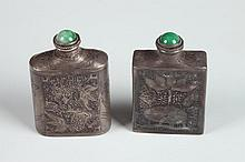 TWO CHINESE STERLING SILVER SNUFF BOTTLES, Wenyin, Li Chun mark. - 2 1/8 in. high.