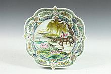 CHINESE FAMILLE ROSE PORCELAIN SHALLOW BOWL, Yongzheng underglazed blue seal mark, circa 1950. - 11 1/2 in. long.