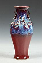 CHINESE FLAMBE PORCELAIN DRAGON VASE, 19th Century. - 10 in. high.