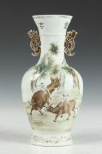 CHINESE FAMILLE ROSE PORCELAIN VASE, Zhang Zhitang mark. - 11 1/8 in. high.