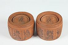 PAIR CHINESE YIXING POTTERY JARS AND COVER, - 4 7/8 in. diam.