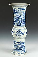 CHINESE BLUE AND WHITE PORCELAIN GU FORM VASE, - 27 in. high.