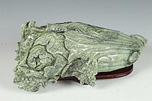 CHINESE JADEITE MODEL OF CABBAGE. - 11 in. long.