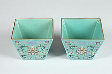 PAIR CHINESE FAMILLE ROSE PORCELAIN SQUARE BRUSH WASHER. - 3 5/8 in. long.