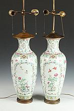 PAIR CHINESE FAMILLE ROSE PORCELAIN OVOID VASES, 18th/19th Century. - 18 in. high.