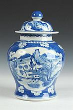 CHINESE BLUE AND WHITE PORCELAIN BALUSTER VASE AND COVER, Qing Dynasty. - 11 1/2 in. high.