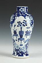 CHINESE BLUE AND WHITE PORCELAIN BALUSTER VASE, 19th Century. - 10 1/2 in. high.