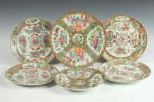 SIX CHINESE ROSE MEDALLION AND ROSE CANTON PLATES AND BOWLS, 19th Century.