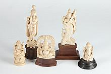 FIVE INDIAN IVORY FIGURES OF DEITIES, Early 20th Century. - Largest: 7 1/4 in. high.