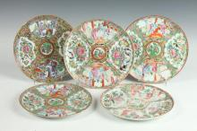 FIVE CHINESE FAMILLE ROSE PORCELAIN PLATES, 20th Century. - 8 1/4 in. diam.