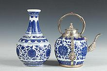 CHINESE BLUE AND WHITE PORCELAIN VASE AND TEA POT, - Larger: 7 1/2 in. high.