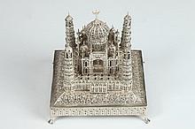 INDIAN FILIGREE SILVER MINIATURE MODEL OF TAJ MAHAL, - Weight: 12 oz 2 dwt.