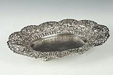 INDONESIAN YOGYA SILVER RETICULATED, OVAL FOOTED SERVING DISH. Circa 1940, marked 800 OJ. - Weight: 19 oz 6 dwt, 14 in. long.