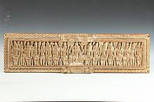 INDIAN CARVED WOOD RECTANGULAR PANEL, - 30 5/8 in. x 8 1/2 in.