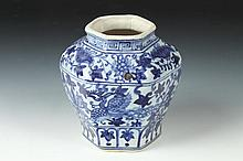 CHINESE BLUE AND WHITE PORCELAIN HEXAGONAL VASE, Ming Dynasty. - 5 1/2 in. high.