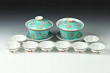 PAIR CHINESE FAMILLE ROSE PORCELAIN BOWLS, COVER AND STANDS, Qianlong ironred mark. - Largest: 4 1/8 in. diam.