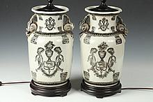 PAIR CHINESE GRISAILLE AND WHITE PORCELAIN VASES, - 12 in. high.