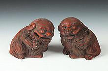 PAIR CHINESE BAMBOO FIGURES OF FU DOGS. - 3 1/2 in. high.
