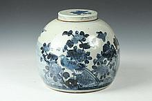 CHINESE BLUE AND WHITE PORCELAIN JAR AND COVER, 19th Century. - 10 in. high.