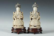 PAIR CHINESE IVORY FIGURES OF EMPEROR AND EMPRESS, Qing mark. - 6 1/4 in. high.
